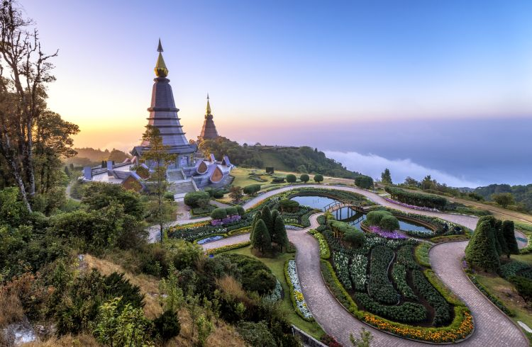 Landmark two pagoda Noppamethanedol & Noppapol Phumsiri on top doi Inthanon moutain, The national park at Chiang mai, Thailand.